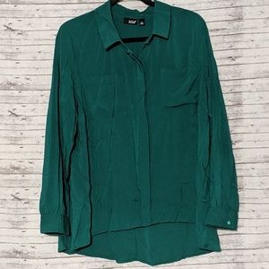 Ana Button down Blouse hidden buttons SZ:XL Green